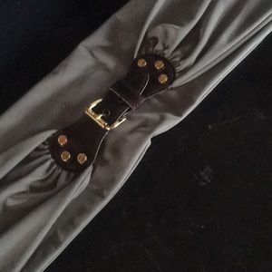 """Michael Kors 37""""material stretch belt w/ leather"""